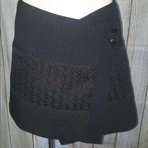 CAbi Asymmetrical Black Skirt Textured Wrap Size M